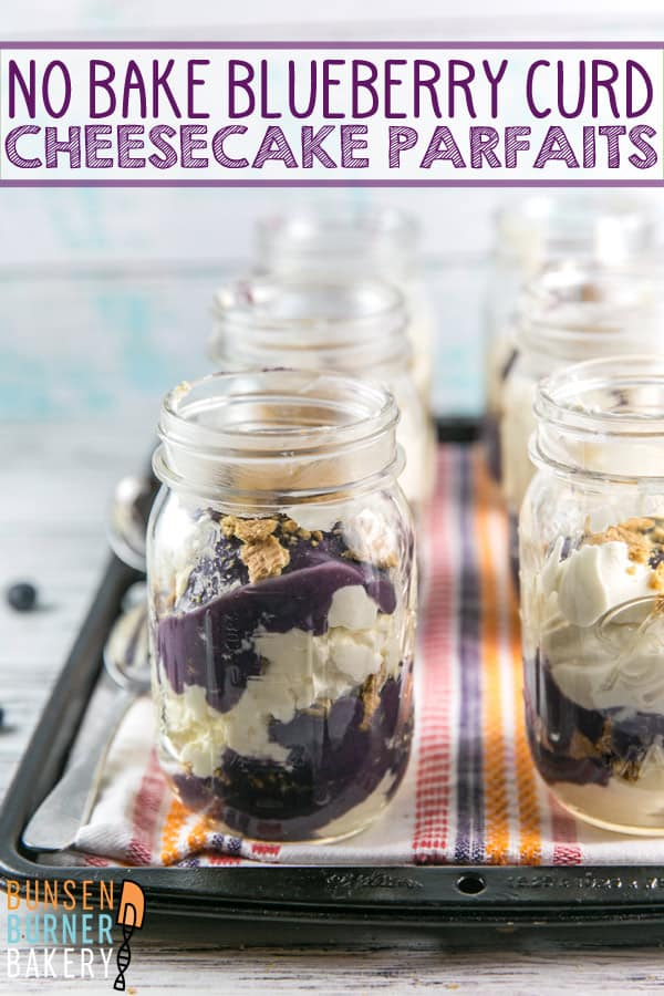 No Bake Cheesecake Parfaits with Blueberry Curd: an easy, fancy, make ahead treat perfect for dinner parties. Layers of a cream cheese and mascarpone cheesecake, blueberry cardamom curd, and crumbled graham crackers. #bunsenburnerbakery #cheesecake #cheesecakeparfaits #nobakedesserts