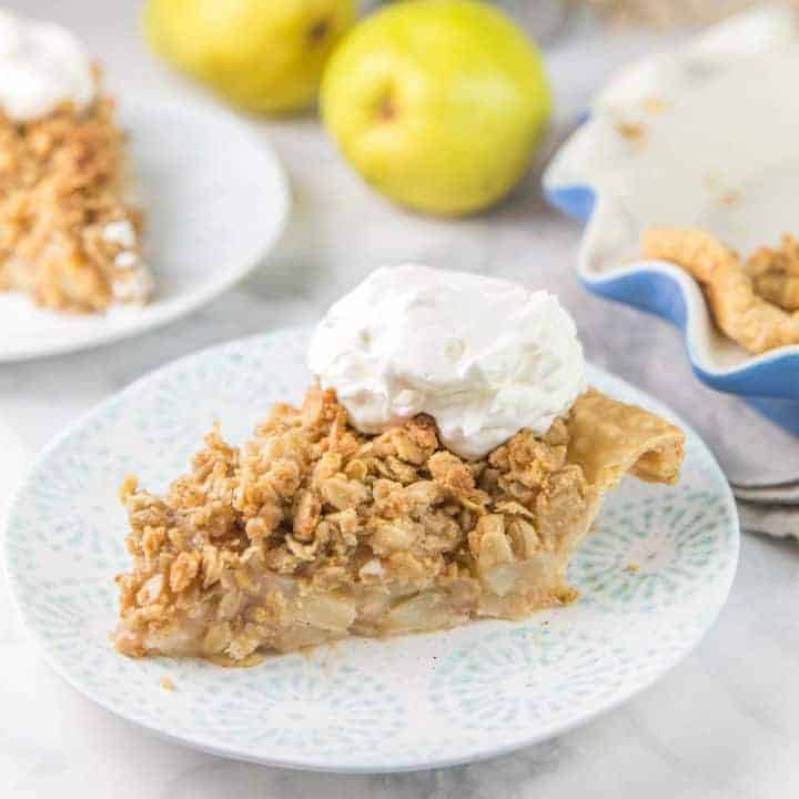 Caramel Pear Pie with Oatmeal Cookie Crumble