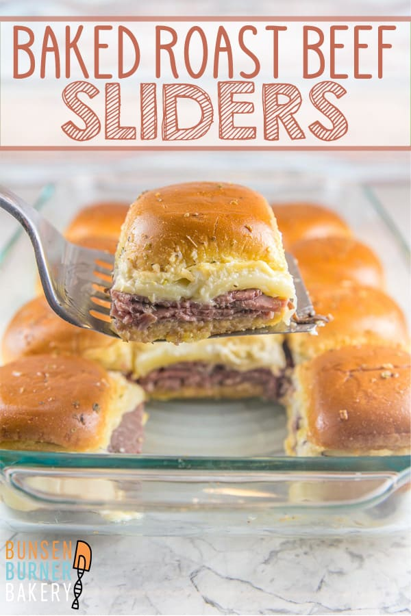 Baked Roast Beef Sliders: with only 5 minutes of prep time and 15 minutes of baking time, these roast beef sliders are the perfect easy, simple, and crowd-pleasing party food! #bunsenburnerbakery #sliders #roastbeef #sandwiches #partyfood #superbowlparty