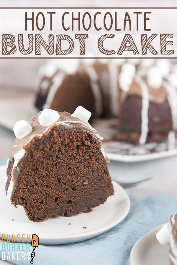 Hot Chocolate Bundt Cake: A moist chocolate bundt cake made with hot chocolate, covered in a hot chocolate and marshmallow glaze, and topped with miniature marshmallows. #bunsenburnerbakery #bundtcake #hotchocolate #chocolatecake