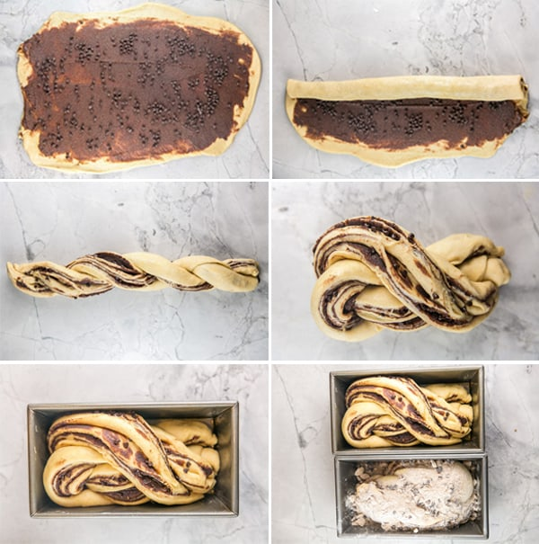 step by step photo instructions on how to shape a babka into a swirled loaf