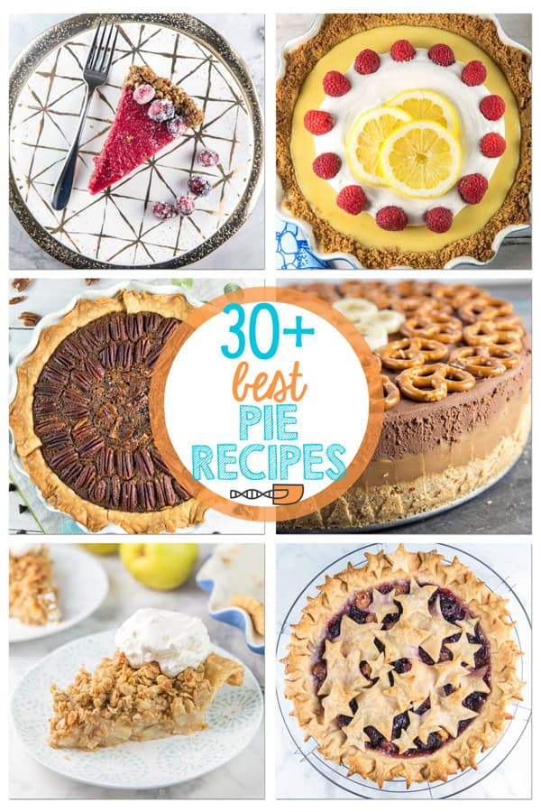 Do you love pie? Then here are all the pie recipes you need for Pi Day, Thanksgiving, or any other pie baking event. Sweet and savory, baked and no bake, fruit, chocolate and custard, perfect pie crust recipes -- we have them all! #bunsenburnerbakery #pie #pies #piday #pierecipes