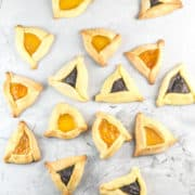 Cake Mix Hamantaschen: Want to make hamantaschen for Purim but looking for a shortcut? This dough tastes like the real deal, but only takes 3 minutes to mix together! #bunsenburnerbakery #hamantaschen #purim #cookies #cakemix