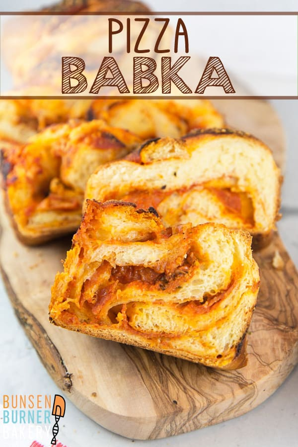 Pizza Babka: rich, butter babka dough meets Italian flavors in this savory pizza babka. Roll up your favorite pizza toppings for this fun twist to pizza night! #busenburnerbakery #babka #pizza #yeastbread