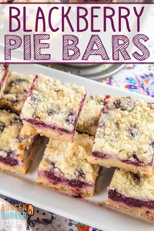 Blackberry Pie Bars: everything you love about a custardy blackberry pie, in an easy to make, easy to share form. #bunsenburnerbakery #pie #piebars #blackberries #summerdesserts