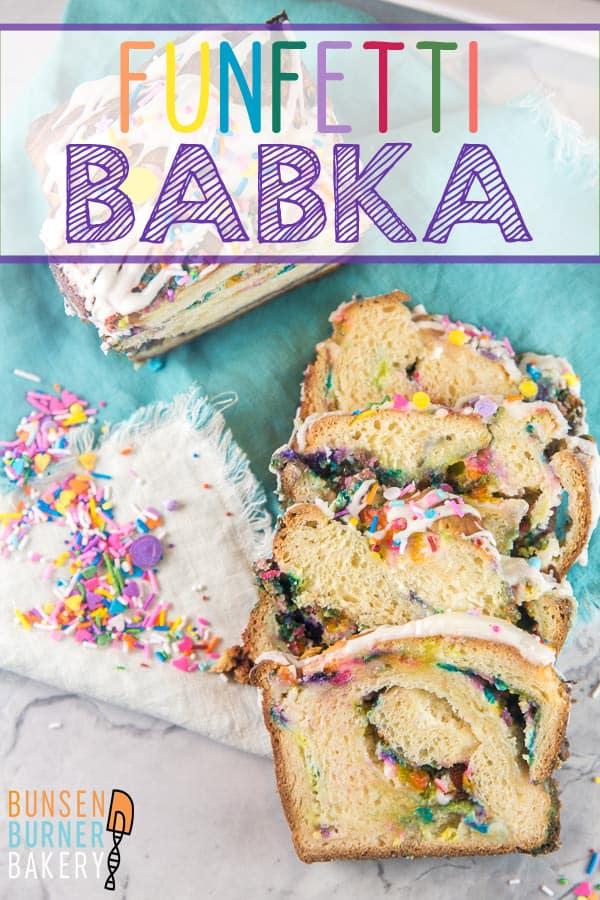Funfetti Babka: This birthday cake flavored, sprinkle filled, glazed yeast bread babka is the ultimate festive sweet treat!  Sprinkles for breakfast?  Absolutely! #bunsenburnerbakery #babka #sprinkles #funfetti #yeastbread