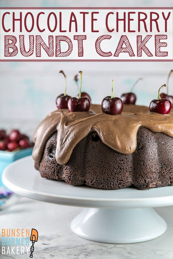 Chocolate Cherry Bundt Cake: An easy recipe for homemade chocolate cherry cake covered in fudge frosting made entirely from scratch! Use fresh or frozen cherries to make this cake year round for birthdays and other celebrations. #bunsenburnerbakery #bundtcake #chocolatecake #fudgefrosting #chocolatecherrycake