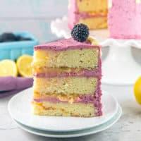 Lemon Curd Cake with Blackberry Buttercream Frosting