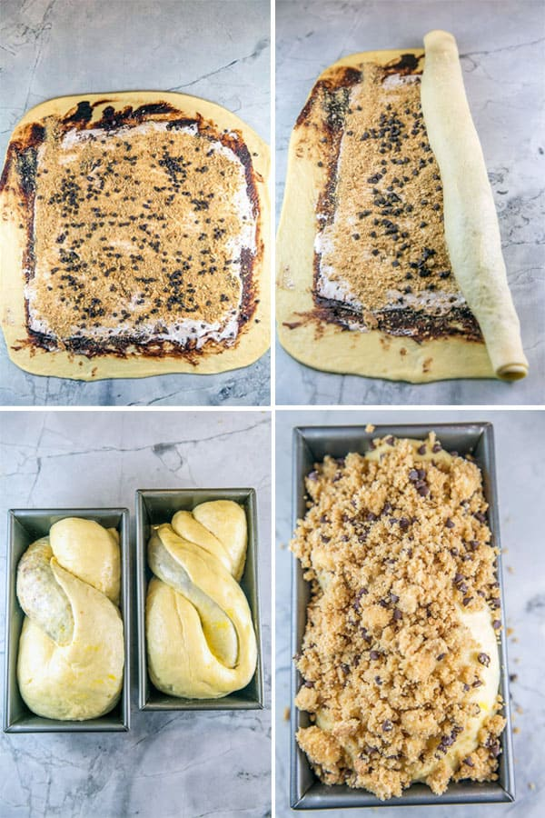 a four panel of photos showing the fillings spread on the s'mores babka, how to roll the dough into a log, how to twist the dough in half to fit in the loaf pan, and how to cover the loaf with the graham cracker streusel