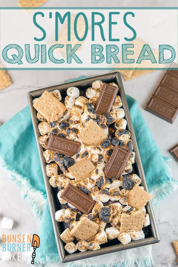 S'mores Quick Bread: Love s'mores?  Bring the graham cracker, chocolate, and toasted marshmallow combination indoors with this easy and fun dessert recipe!  An easy mix-by-hand chocolate graham cracker cake is topped with toasted marshmallow for a delicious, gooey treat! #bunsenburnerbakery #smores #quickbread #chocolate #marshmallows