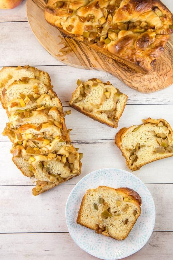 slices of honey apple babka