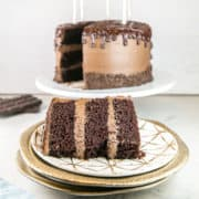 Best Chocolate Layer Cake: This easy homemade chocolate layer cake with chocolate buttercream frosting and ganache is rich and moist! The recipe is simple to make and always turns out perfectly. With step by step instructions for how to assemble, even beginning bakers will succeed! #bunsenburnerbakery #chocolatecake #layercake #birthdaycake