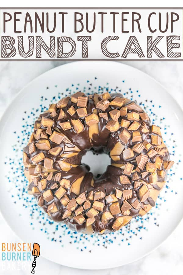 Chocolate Peanut Butter Cup Bundt Cake: light and fluffy chocolate cake made from scratch covered in peanut butter and chocolate ganache frosting, topped with chopped peanut butter cups. #bunsenburnerbakery #cake #chocolatecake #bundtcake #peanutbuttercup #chocolatepeanutbutter