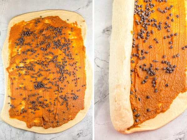 two paneled photo showing a rectangle of babka dough with pumpkin filling and chocolate chips scattered on top; second panel shows dough starting to roll up into a cylinder
