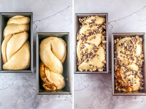 two photos showing two loves of pumpkin chocolate chip babka in loaf pans before and after baking