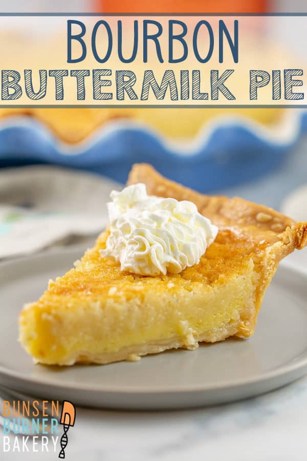 Bourbon Buttermilk Pie: This easy buttermilk pie recipe is an old fashioned southern staple - with a generous splash of of bourbon for a little extra punch! Don't forget to top with a dollop of bourbon-spiked whipped cream! #bunsenburnerbakery #pie #buttermilkpie #bourbon #boozydesserts
