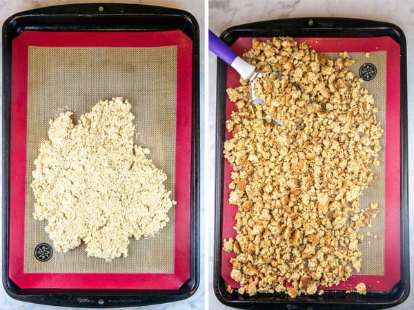 a pie of oatmeal cookie dough lumped together on a cookie sheet and then shown crumbled into oatmeal cookie crumbs to be turned into oatmeal cookie ice cream