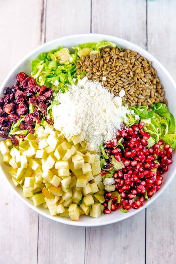 a large white salad bowl with shaved brussels sprouts and neat divided piles of dried cranberries, chopped apples, pomegranate arils, roasted sunflower seeds, and pecorino cheese