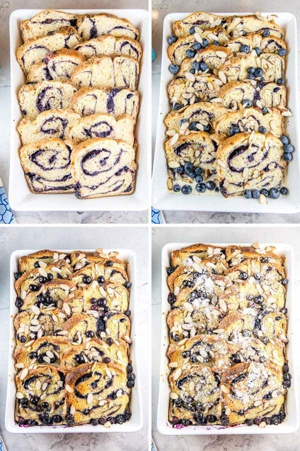 four panels of pictures showing unbaked babka french toast casserole, then the casserole topped with blueberries and sliced almonds, then the baked casserole, and lastly the baked casserole topped with powdered sugar