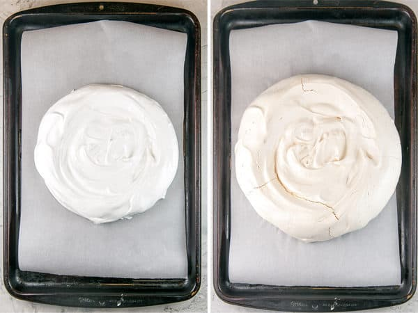 side by side photos of pavlova meringue before and after baking on a cookie sheet