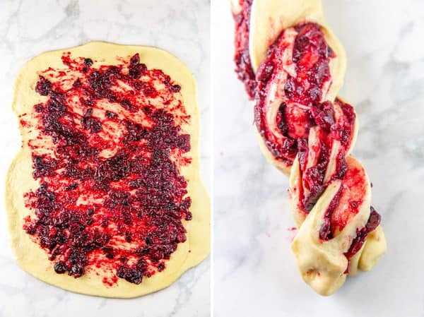 step by step photos showing a rectangle of babka dough with cranberry filling spread across it and the dough rolled up and twisted together
