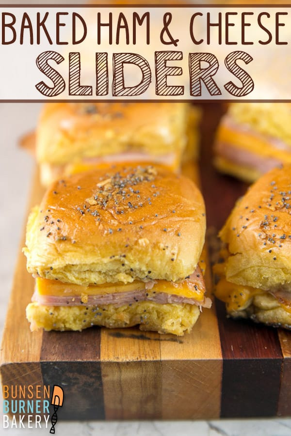 Baked Ham and Cheese Sliders: These crowd pleasing sliders on Hawaiian rolls take just 5 minutes to make and can be made ahead of time for the perfect quick and easy party food. Great for holiday parties, football parties, tailgates, or an easy weeknight dinner! #bunsenburnerbakery #sliders #sandwiches #hamandcheese #superbowl #footballparty