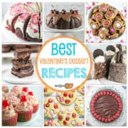 Celebrate Valentine's Day the best possible way — with delicious desserts! Fun dinner with friends? Preschool treats for your child's class? Romantic dinner in? From deep rich chocolate to red velvet to festive cookies, these delicious treats have you covered. #valentinesday #desserts #chocolate