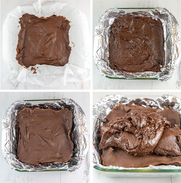 step by step photos showing frozen nutella on parchment paper, spreading the bottom layer of brownie batter, placing the frozen nutella on top, and covering with more brownie batter