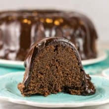Triple Chocolate Pound Cake: Master your baking skills with this easy triple chocolate pound cake recipe made from scratch.  Bake in either a bundt pan or loaf pan.  Don't forget the chocolate ganache glaze!  #bunsenburnerbakery #poundcake #chocolatecake #chocolatepoundcake