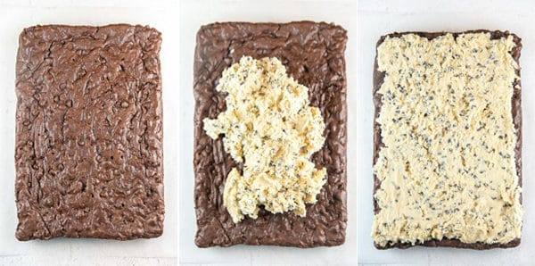 three photos showing plain brownies, brownies with cookie dough mixture piled on top, and the brownies with the cookie dough mixture evenly spread across the top