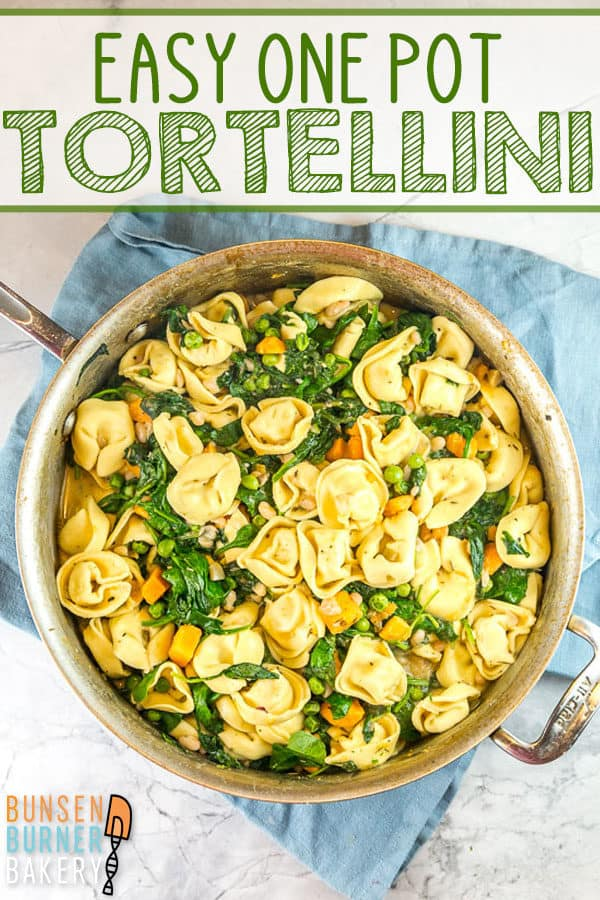 One Pot Tortellini with Sweet Potatoes and Spinach: It doesn't get any easier than this all-in-one skillet recipe filled with tortellini, sweet potatoes, spinach, beans, and peas!  Serve as is for a filling vegetarian meatless meal, or add sausage for a protein boost. #bunsenburnerbakery #tortellini #onepot #easydinner