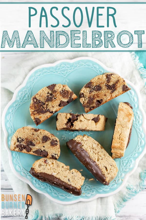 Passover Mandelbrot: This easy mandelbrot recipe is a family tradition! Filled with chocolate chips, nuts, or dried fruit, these cookies are crispy on the outside, soft inside, and Passover friendly! #bunsenburnerbakery #mandelbrot #cookies #passover