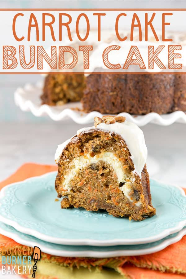 Carrot Bundt Cake with Cream Cheese Swirl: this easy and moist carrot cake is baked in a bundt pan and topped with cream cheese frosting.  Don't forget the swirl of cream cheese stuffed in the middle! #bunsenburnerbakery #cake #bundtcake #carrotcake