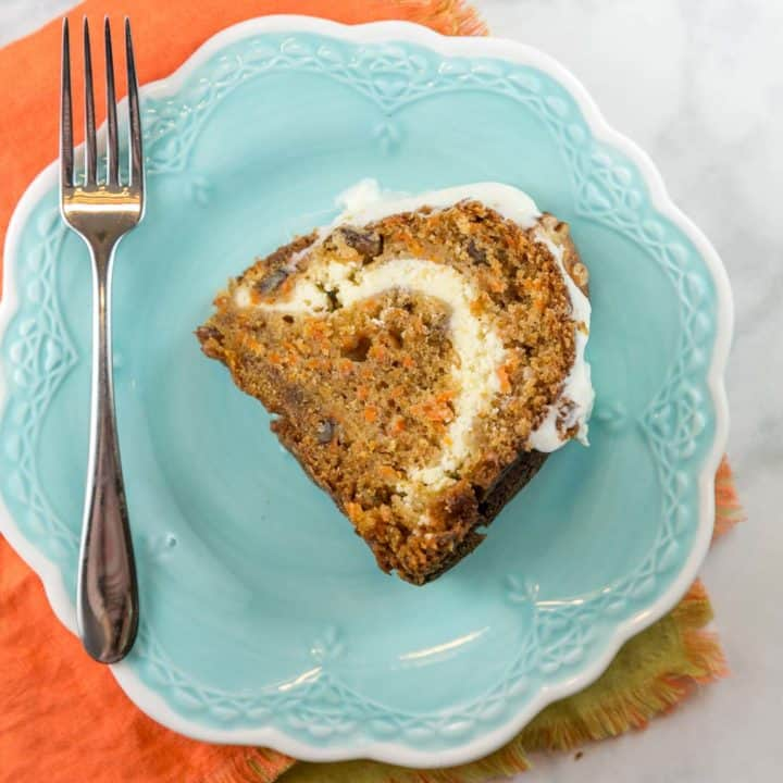 Carrot Bundt Cake with Cream Cheese Swirl