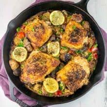 One Pan Tahini Chicken with Brussels Sprouts and Potatoes: An easy one pan recipe with chicken thighs and vegetables seared to crispy perfection and baked in a lemon tahini sauce.  Dairy free, gluten free, and Whole 30 compliant! #bunsenburnerbakery #chicken #tahini #glutenfree #whole30
