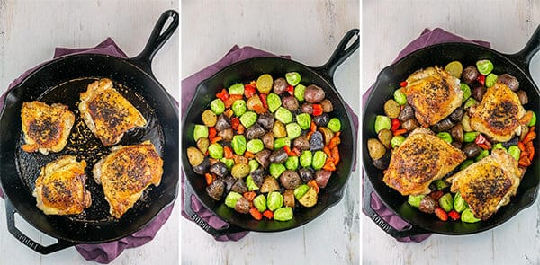 three pictures showing a cast iron pans with seared chicken, with a layer of potatoes and Brussels sprouts, and with the chicken on top of the vegetables