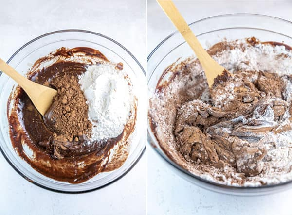 two photos showing mixing the dry ingredients into a thick brownie batter by hand