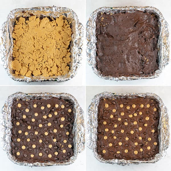 step by step photos showing the layer of peanut butter filling and covering with brownie batter before and after baking