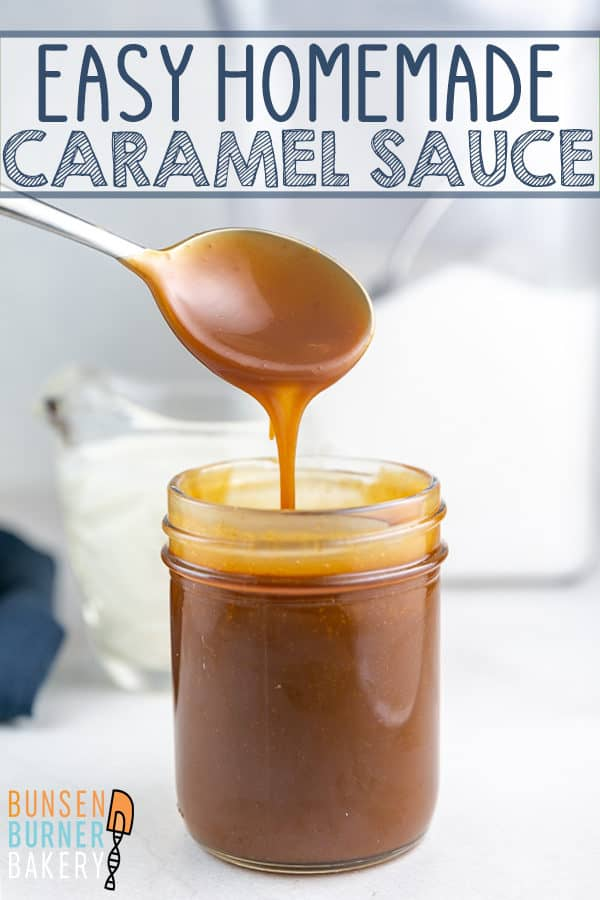 a jar full of easy homemade salted caramel sauce