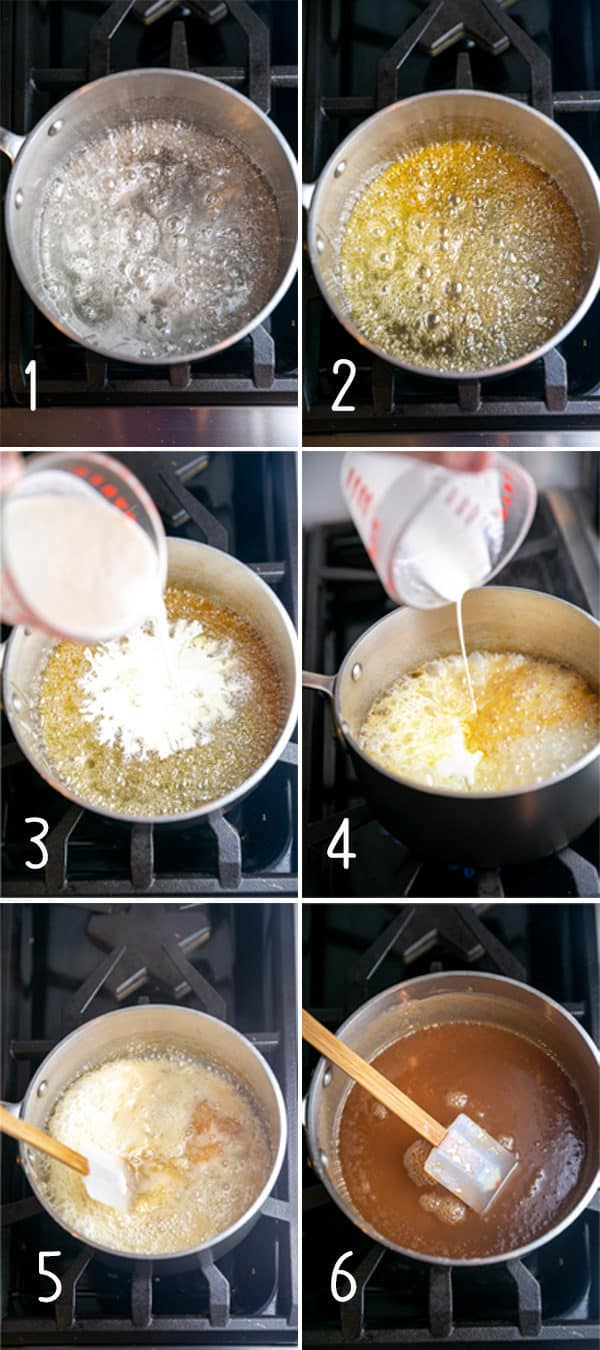 step by step photos showing how to make caramel sauce