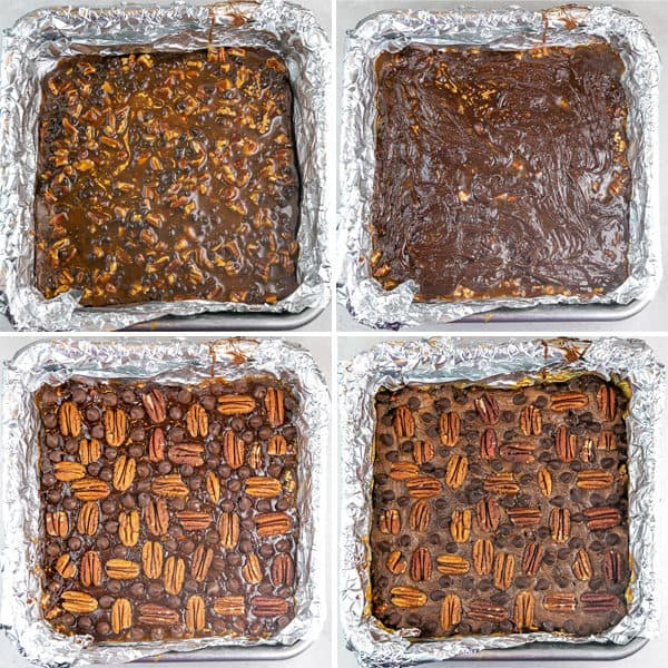 four panels showing how to layer turtle brownies