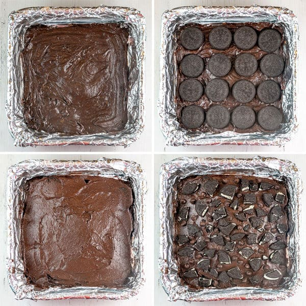 four pictures showing brownie batter, a layer of oreos, more brownie batter, and chopped oreos on top