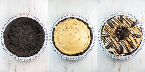 three photos showing the empty oreo crust, filled with peanut butter mixture, and a fully decorated pie