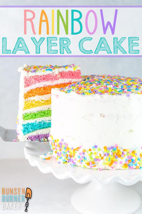 Rainbow Layer Cake Recipe: Everything you need to know about how to make an easy DIY six layer rainbow cake! Perfect for birthdays or celebrations, using bright or pastel layers. #bunsenburnerbakery #cake #layercake #rainbowcake #birthdaycake