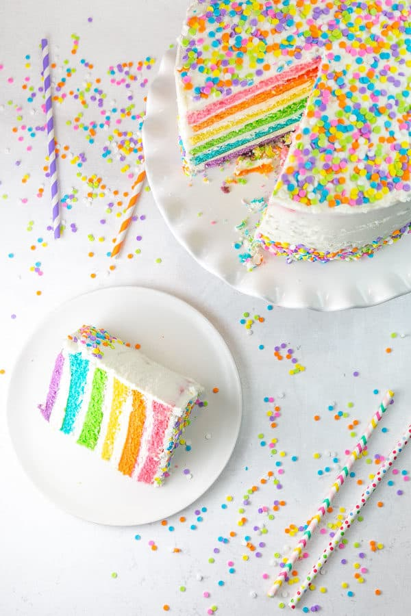 overhead view of a cake covered in pastel sprinkles