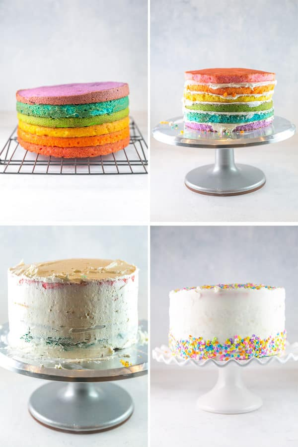 four panels showing the baked cakes, cakes stacked with frosting, crumb coat, and finished decorated cake