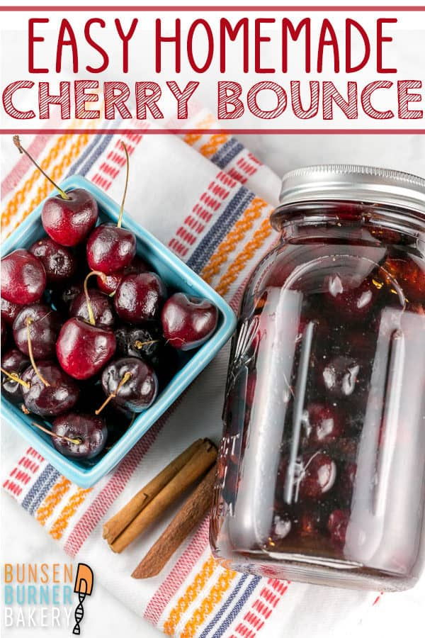 Cherry Bounce Recipe: directions on how to make this easy homemade liquor, using fresh cherries and whiskey, vodka, brandy, or another alcohol of your choice. Perfect for sipping or cocktails! #bunsenburnerbakery #cherrybounce #cherries #whiskey #cocktails