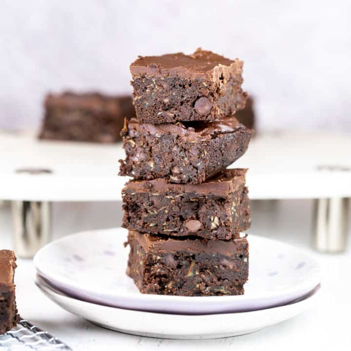 stack of brownies made with zucchini