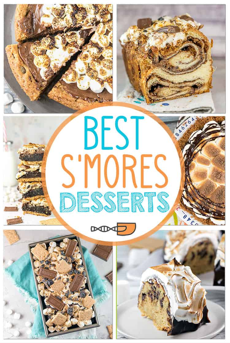 Best S'mores Desserts: A collection of the easy s'mores dessert recipes you can make at home in the oven! Cookies, cake, pie, brownies, bars - lots of ideas for s'mores desserts! #bunsenburnerbakery #smores #smoresdesserts