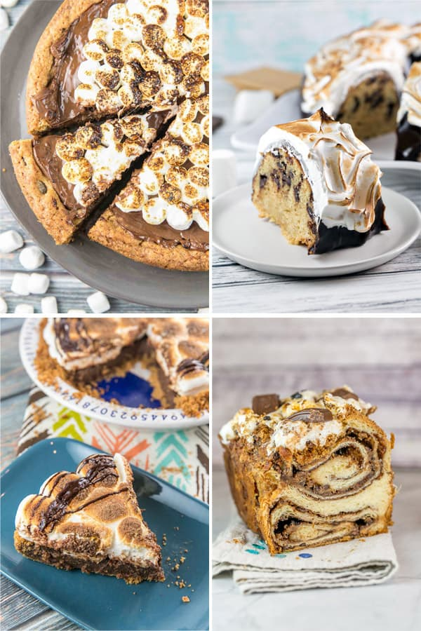 collage of four different s'mores themed desserts (pie, bundt cake, cookie cake, babka)